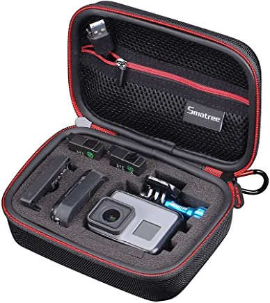Smatree Carrying Case for GoPro Hero 7/6/5/4/3+/3/2/1/GOPRO HERO (2018)/DJI Osmo Action(Black & Red)-Extra-Small