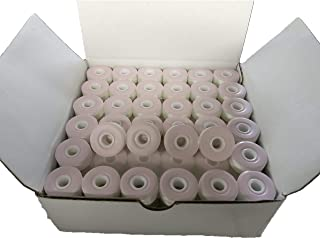 Prewound Bobbin, Card Board, Size L, White Color, 144pcs per Box, 75D/2 Polyester, Doublelin,Fit with Babylock, Barudan, Bernina, Brother, Consew, Doublelin, Juki, Mitsubishi, Singer, Tajima and More