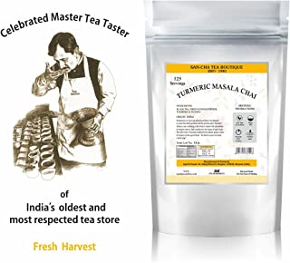 2019 Fresh Arrival of SANCHA Turmeric Masala Chai Wellness Tea with real Turmeric, Ginger, Nutmeg,Black Loose Leaf 100% Natural, 8.8 Oz.Fresh Harvest, Pain Relief Tea.125 Cups (No Artificial Flavours)