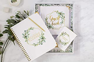 $57 » Wedding Planner Gift Set Floral Gold - Engagement Gift - Undated Bridal Planning Diary Organizer Calendars Guest Book and ...