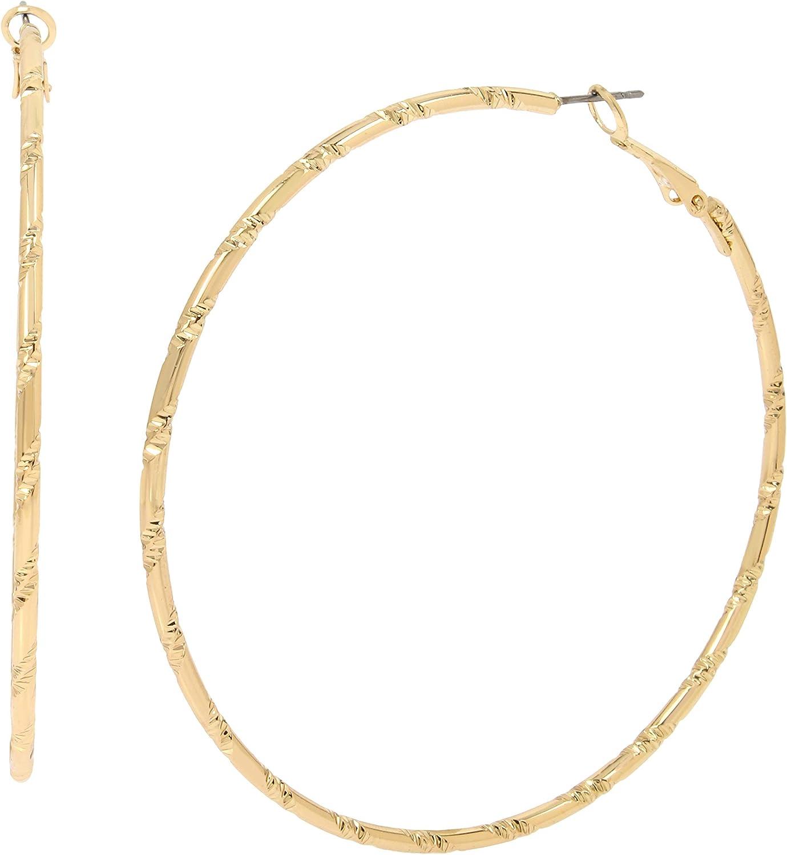 Jessica Simpson Hammered Texture Hoop Earrings