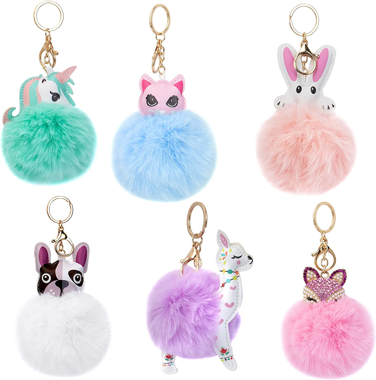 Framendino, 6 Pack Animal Pom Pom Keychain Cute Faux Fur Fluffy Fuzzy Keychain Ball for Girls Women Bag Accessories