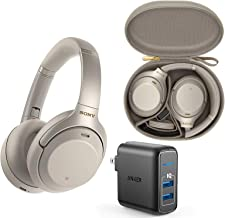 Sony WH1000XM3 Wireless Bluetooth Noise Canceling Over Ear Headphone Bundle with Anker 2-Port USB Wall Charger - Silver
