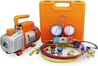 BACOENG 3.6CFM Vacuum Pump & Manifold Gauge Set - HVAC A/C Refrigeration Kit - Diagnostic R22 R134a R410A - w/Case