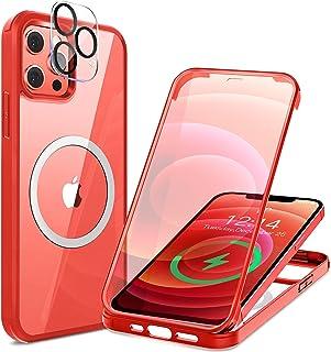 HAUTRKBG iPhone 12 ケース クリア 両面強化ガラス 360°全面保護 [MagSafe対応] [カメラフイルムを贈] [100%画面感度] マグセーフ ワイヤレス充電対応 米軍MIL規格取得 耐衝撃 アイフォン 12 透明 マ...