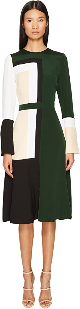 Stretch Viscose Crepe Color Block Long Sleeve Dress