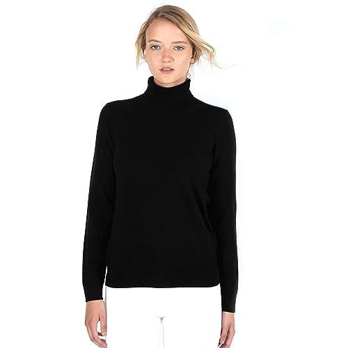 5d24a1d6c1 JENNIE LIU Women s 100% Pure Cashmere Long Sleeve Pullover Turtleneck  Sweater