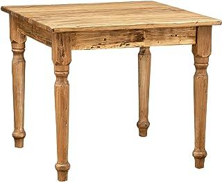 Biscottini Table carrée en Bois Massif de Tilleul - Style Country - Structure et Plateau Naturel L 90 x P 90 x H 78 cm