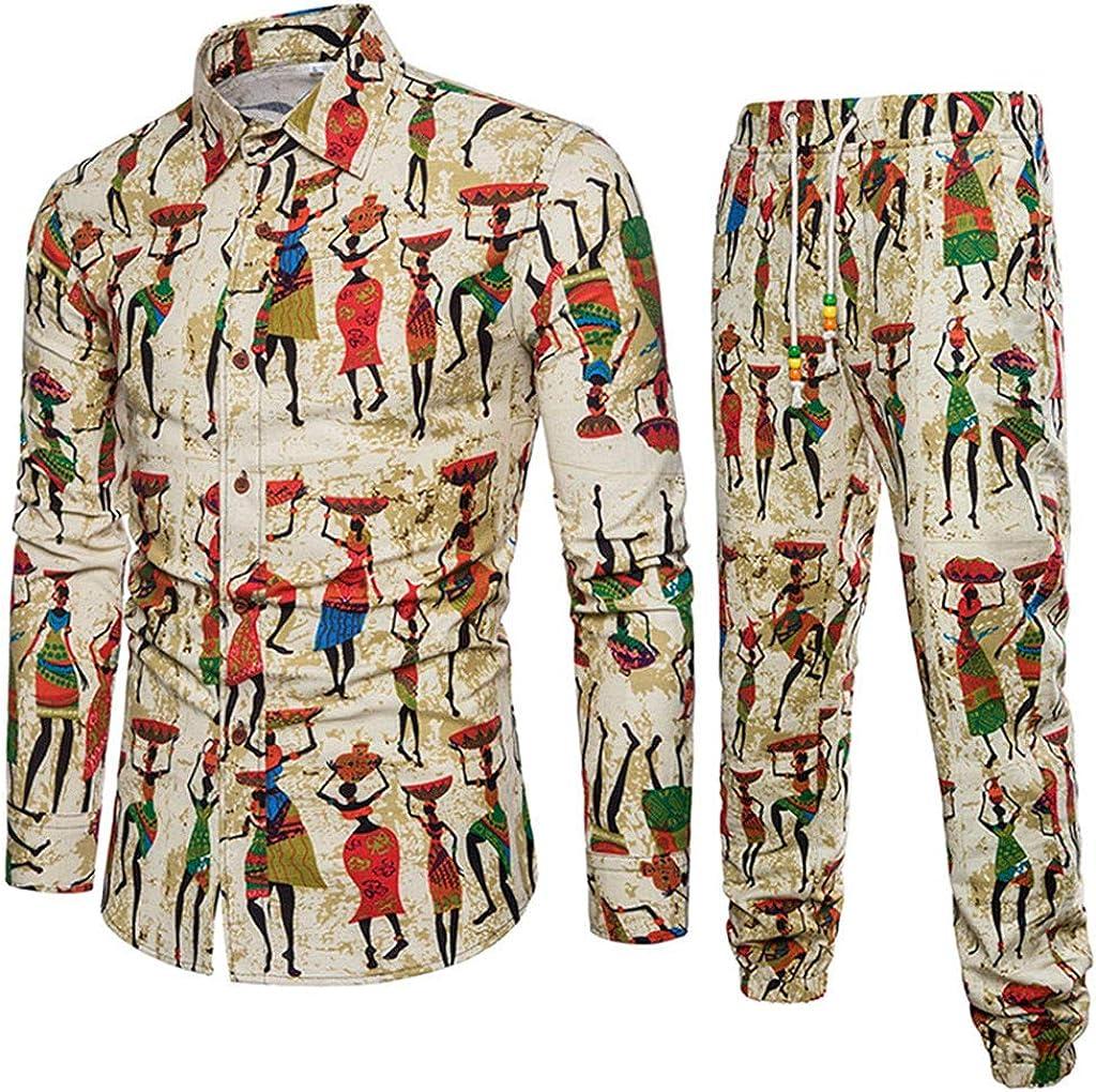 Casual Mens Long Sleeve Shirt Business Slim Fit Shirt Print Blouse Top+Pants