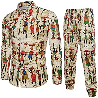 ed710890 VEZAD Tracksuit Men Ethnic Style Printed Cotton and Linen Long-Sleeved  Shirt + Pants Suit