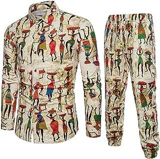 Mens Indigenous Mural Printed Blouse Set, Balakie Slim Button Down Shirt + Pants