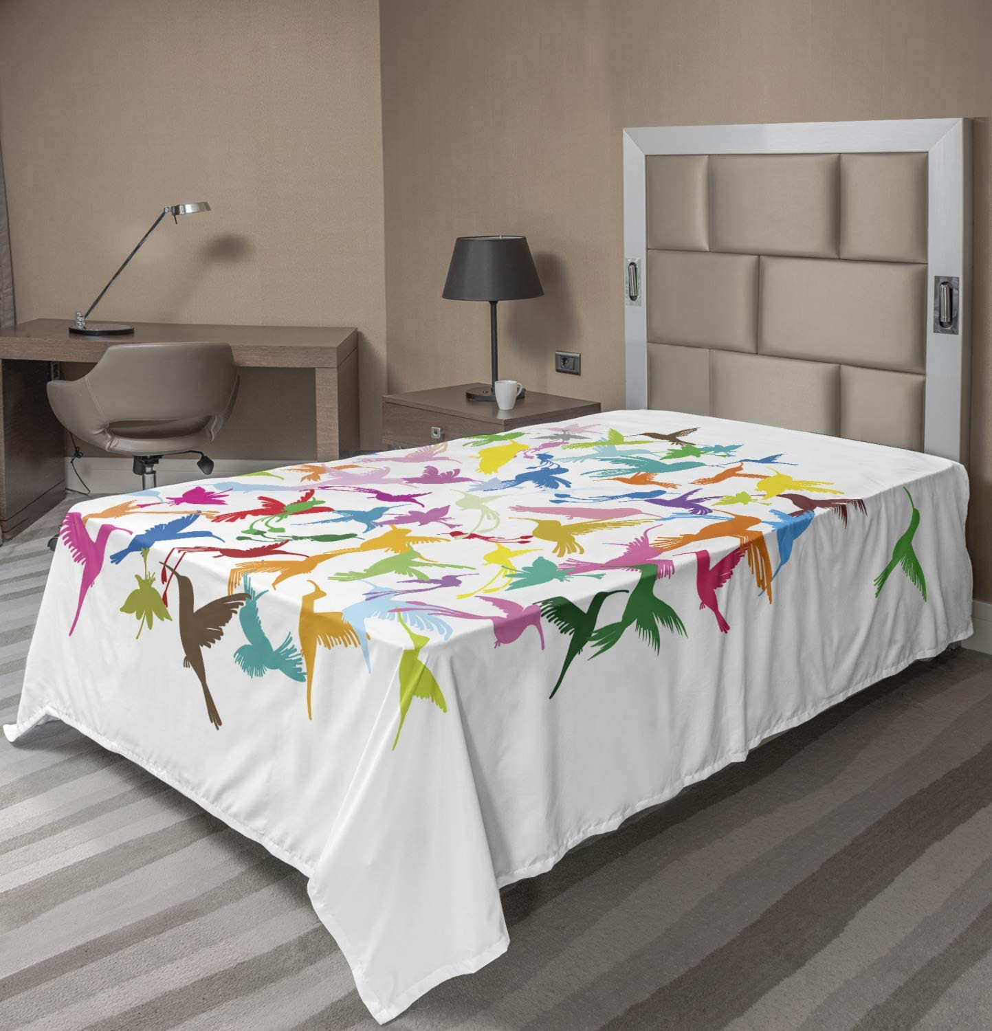 Ambesonne Hummingbird famous store Flat Sheet Colorful Com Circular Abstract