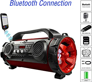 Boytone BT-50RD Portable Bluetooth Boombox Speaker, Indoor/Outdoor 2.1 Hi-Fi Cylinder Loud Sound Built-in 5.25