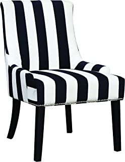 Armless Upholstered Chair Navy and White