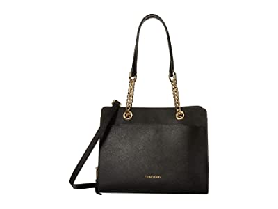 Calvin Klein Hayden Saffiano Leather Chain Satchel (Black/Gold) Satchel Handbags