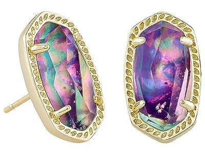 Kendra Scott Ellie Stud Earrings (Gold Lilac Abalone) Earring