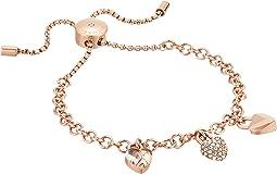 Logo Love Trio Heart Charm Slide Bracelet