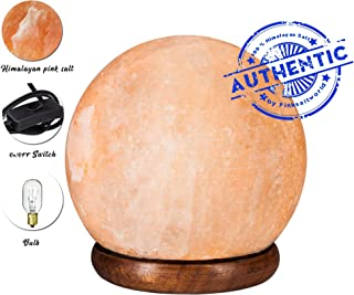 Himalayan Real Rock Salt Lamp - Genuine Wood Base with On and Off Switch/Dimmer - 5-7 Lbs Bulb with 6-8 Inches UL Electric Corded (Globe)