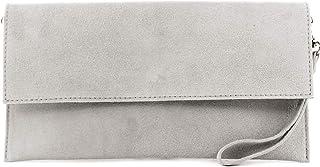 modamoda de - T151/M151 - ital. Clutch Wildleder/Leder Metallic