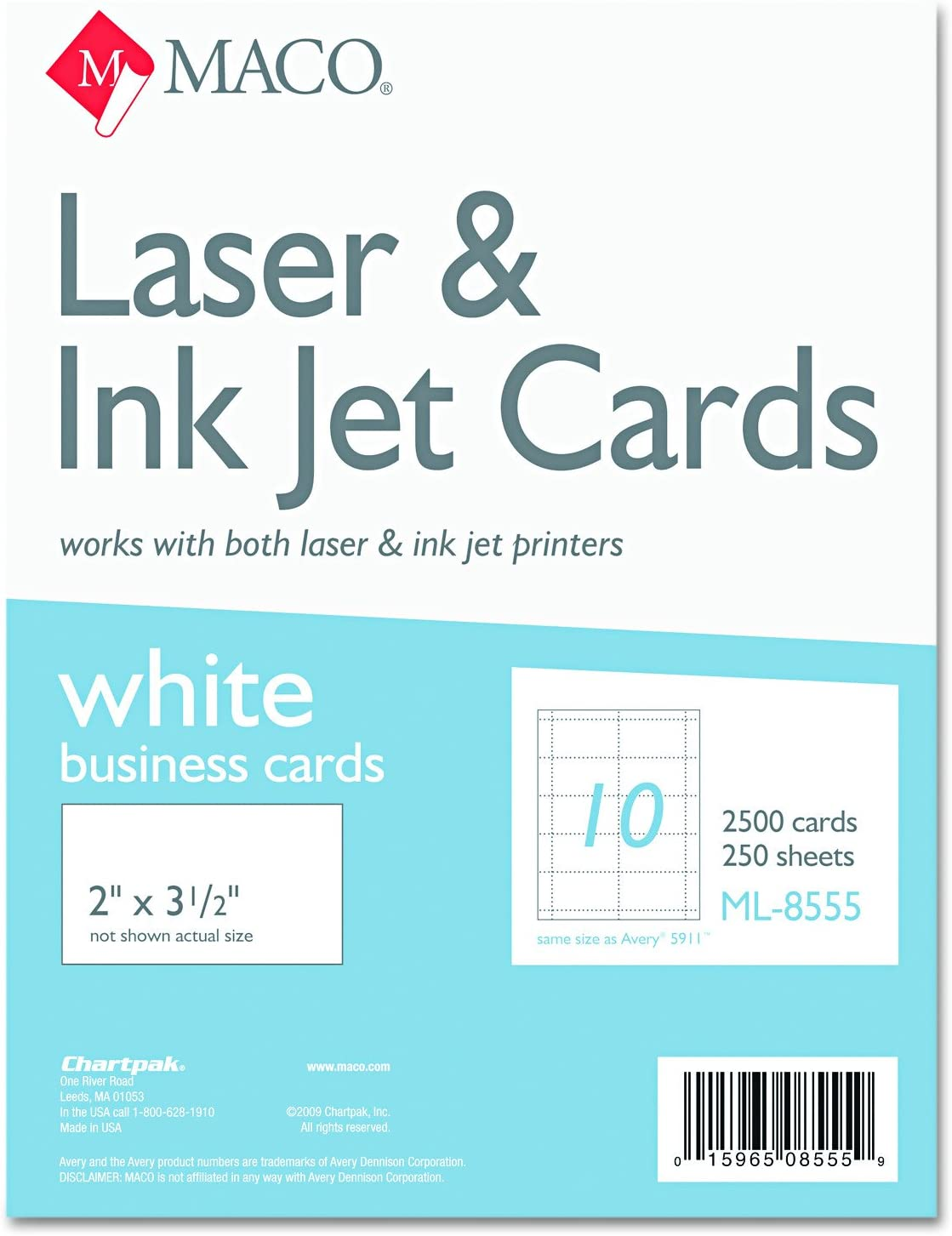 MACO ML8555 Microperforated Business Cards 2 x White 1 Bo 3 Industry No. free