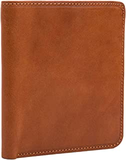 Mens Leather Bifold Hipster Wallet Large with ID Window Multi Business and Credit Card Holder Slots made with Real Italian Cowhide Leather by Tony Perotti