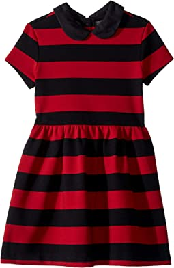 Striped Stretch Ponte Dress (Little Kids)