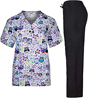 Women's Printed Medical Scrub Set V-Neck Top and Pants