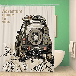 Awowee Bathroom Shower Curtain Jeep Adventure Off Road Car Safari Offroad 4X4 Desert Truck Polyester Fabric 66x72 inches Waterproof Bath Curtain Set with Hooks