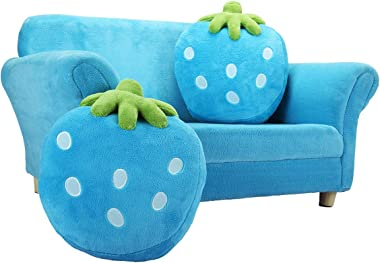 TOBBI Children Couch Armrest Chair,Kids Sofa Double Seats,Solid Wood Toddler Lounger with 2 Lovely Strawberry Pillows,Blue