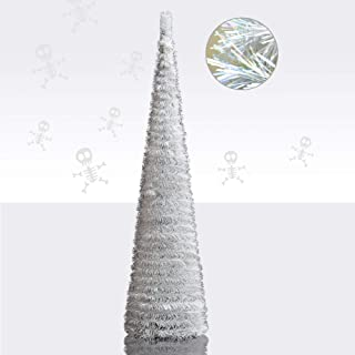 YuQi 5' Slim White Tinsel Pop-Up Artificial Christmas Tree,Collapsible Pencil Christmas Trees Features Sequins Accents for Apartments,Dorm Rooms,Fireplace or Party