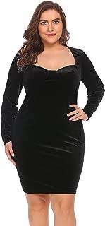 Women's Plus Size Sweetheart Neck Sexy Elegant Padded Long Sleeve Velvet Bodycon Party Cocktail Dress