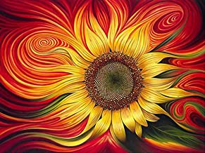 DIY 5D Diamond Painting by Number Kits, Crystal Rhinestone Embroidery Paint with Diamonds, Full Drill Canvas Art Picture for Home Wall Decor(Fantasy Sunflower-1, 15.74x11.81in)