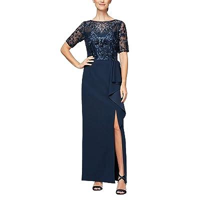 Alex Evenings Long A-line Detailed Bodice Dress
