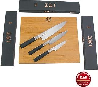 Kai Wasabi Black 67-W17 - Juego de cuchillos de cocina santoku (20 cm, 15 cm, cuchillo de oficina de 10 cm, tabla de cortar maciza de roble de 40 x 30 cm, caja de regalo)
