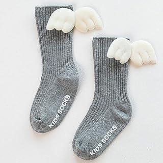 TZOU Newborn Babies Cartoon Socks with Wings Anti-Skid Cotton Baby Socks Medium Stockings 0-5 Years Old Gray S Code 6-12 Months