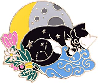 Avamie Black and White Cat Sleeping on The Moon Enamel Lapel Pin, Floral Moon and Stars Cat Pin (Black)