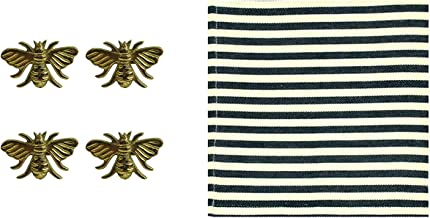 Design Imports Honey Bee Table Linens Bundle with 4 Gold Brass Napkin Rings, 4 Black Stripe Cotton Napkins (8 items)