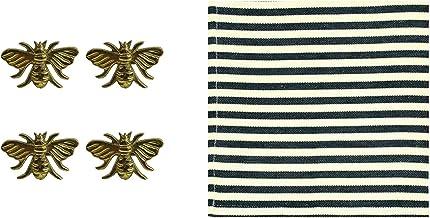مجموعة بياضات الطاولة هوني بي من ديزاين إيمبورتس مع 4 حلقات مناديل ورقية نحاسية ذهبية، 4 مناديل قطنية مقلمة سوداء (8 عناصر)