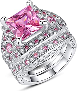 HYLJZ Anello Beiver Women White Gold Color Pink Full Crystal Square Cz Couple Wedding Ring Size 6-9