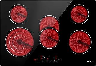 Plaque de Cuisson Vitrocéramique Electrique- (8600W, 5 Foyers, 77cm, Encastrable, Intégré, Autarkic, Tactile, Minuteur, Ve...
