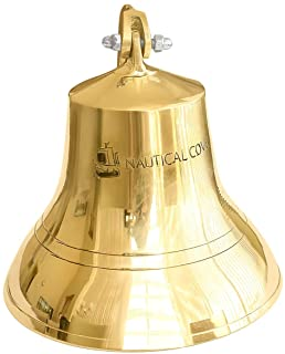 Nautical Cove Solid Brass Ships Bell Tall and Wall Mountable - Clear Ring for Indoor and Outdoor Use