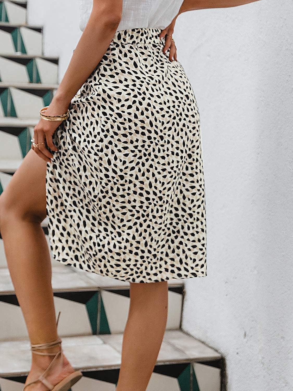 Glamaker Women's Floral Print High Waisted Midi Skirt Botton Down Side Split A Line Skirts