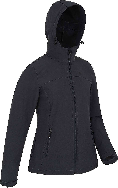 Mountain Warehouse Exodus Wasserabweisende Softshell-Damenjacke - atmungsaktive Regenjacke, länger im Rücken - großartig zum Spazierengehen, Reisen, Wandern, Frühling Kohle