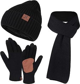 Men & Women Winter Knit Hat Beanie Long Scarf Touchscreen Gloves Set Skull Cap Neck Warmer Gloves Set with Fleece Lined