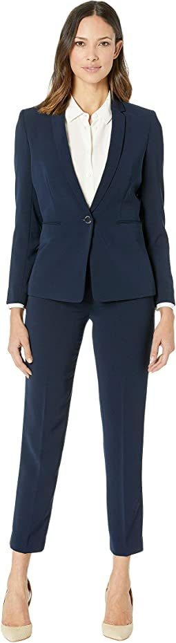 Crepe One-Button Pants Suit
