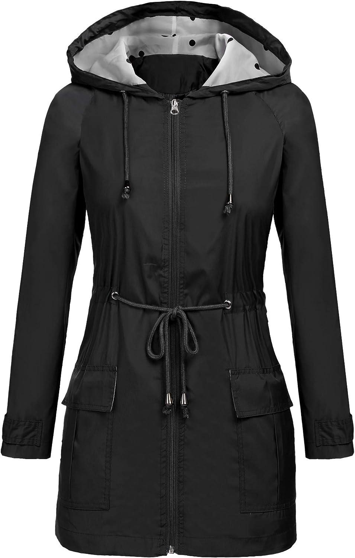 RUI DI YAN Women Waterproof Lightweight Hooded Raincoat Active Outdoor Rain Jacket