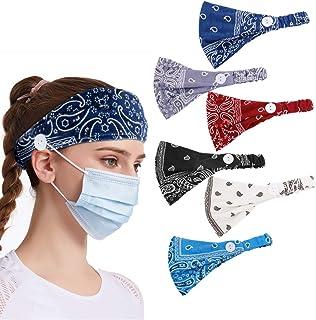 6pcs Paisley Button Headbands Set- Non Slip Elastic Headbands with Button Hair Accessories for Women Men Moisture Wicking ...