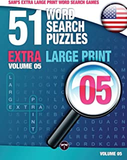 Sam's Extra Large Print Word Search Games, 51 Word Search Puzzles, Volume 5: Brain-stimulating puzzle activities for many hours of entertainment: ... activities for many hours of entertainment