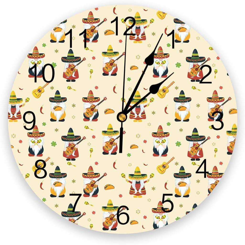 Mexico 5 de mayo Reloj de pared silencioso que no hace tictac, relojes de números redondos de PVC que funcionan con pilas, decorativo para dormitorios de casa, 9,8 x 9,8 pulgadas, dibujos animados, gn