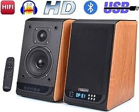 Bookshelf Speakers Bluetooth Studio Speakers HiFi 2.0 Surround Sound Classic Wireless Speaker for Home Theater Optical Input 80Watts 4 Inch Near Field Speaker Wooden Style (Pair)